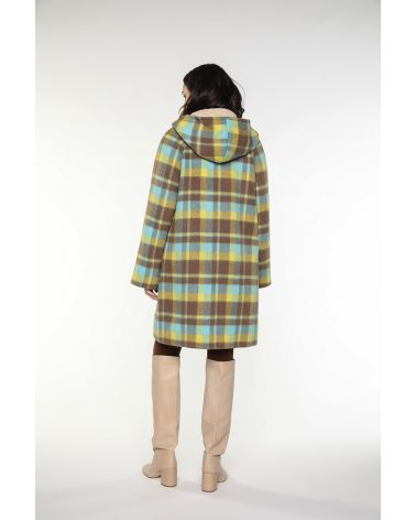 Hoody coat in wool and alpaca brown and yellow ckecks