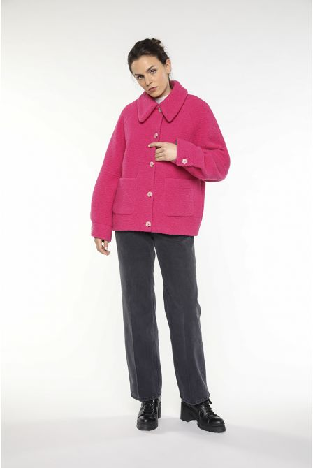 Pink jacket in fake shipskin wool