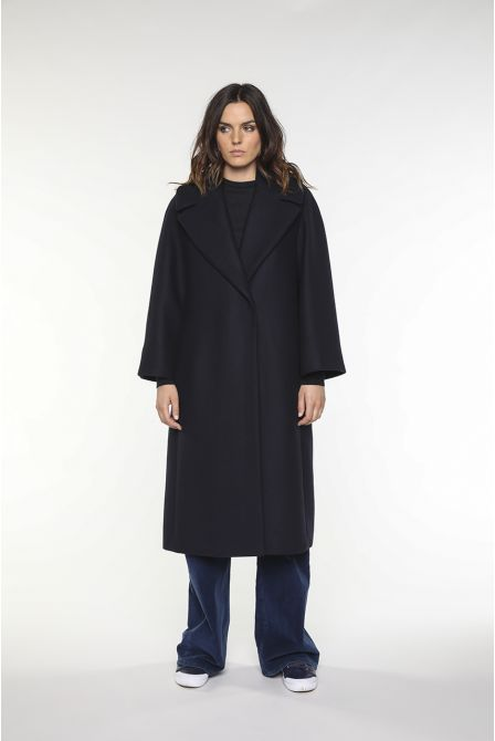 navy flared long coat in  wool gabardine