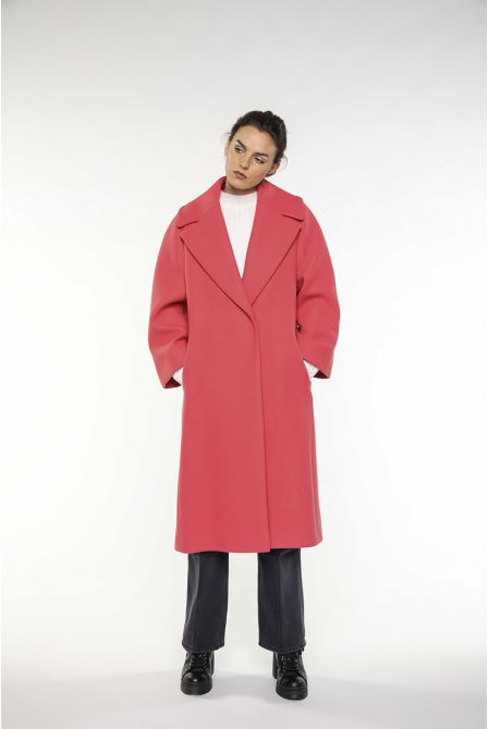 Pink flared long coat in wool gabardine