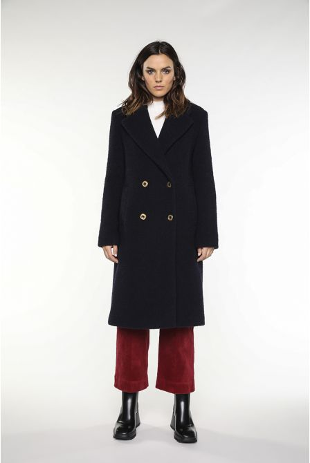 Navy coat in virgin wool boucle fabric