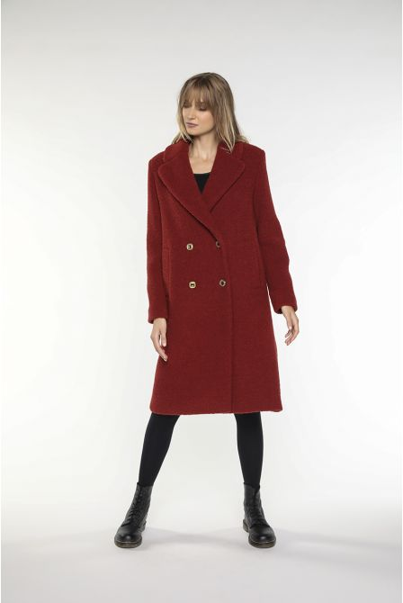 Brown fig coat in virgin wool boucle fabric