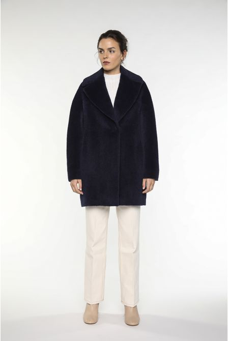 Mid-length Coat in navy alpaga with cuts