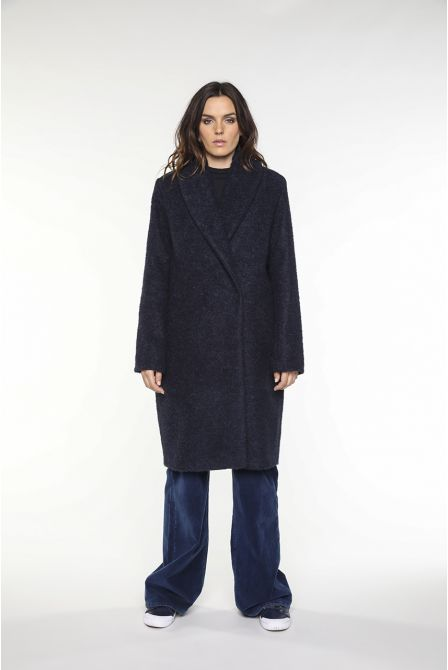 Navy alpaca bouclette wool coat with a shawl collar