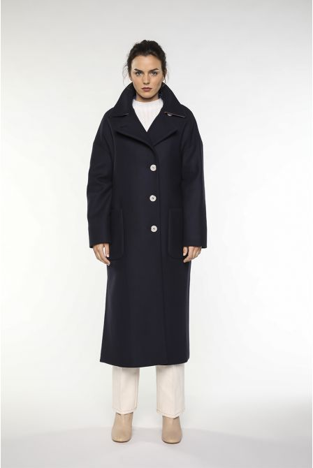long navy coat in virgin wool