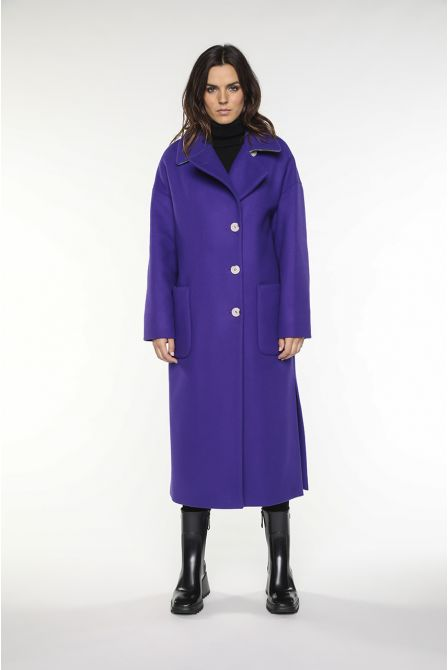 long purple coat in virgin wool