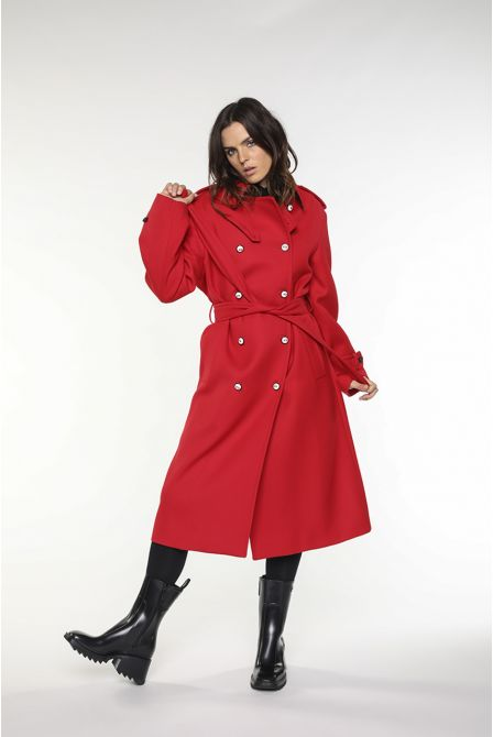 Trench Coat in red virgin wool gabardine