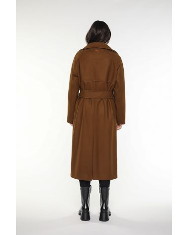 Long bellted coat in brown virgin wool