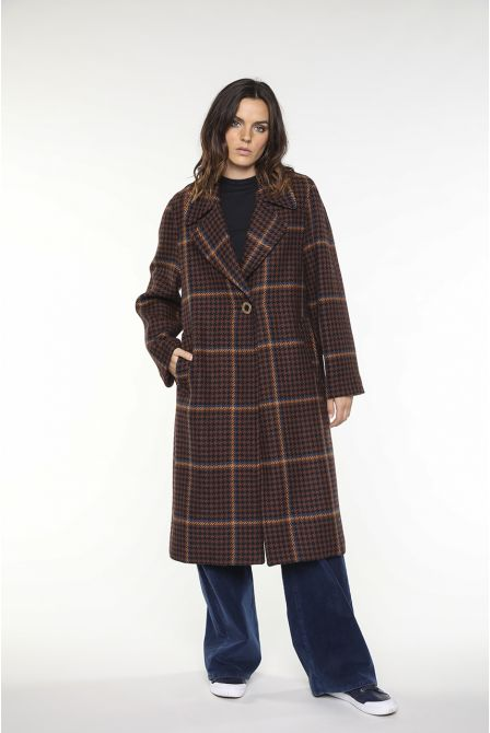 Long coat in tartan virgin wool