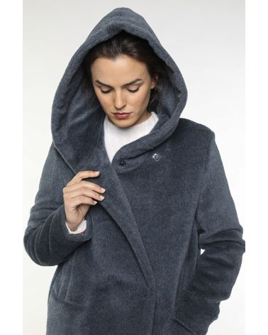 Hoody coat in sky blue Alpaca