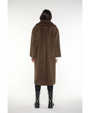 brown flared long coat in alpaca wool