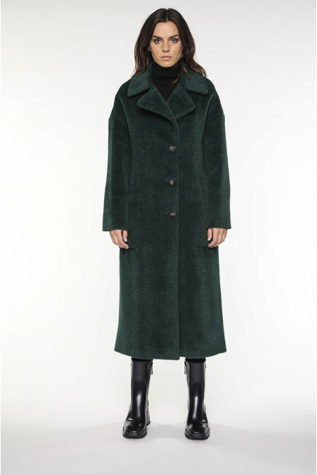 long green coat in alpaca wool