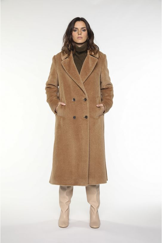 long camel coat in alpaca wool