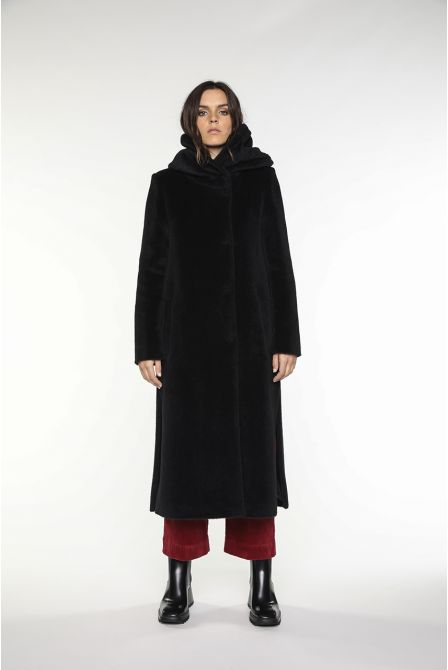 Long hooded coat in black alpaca wool