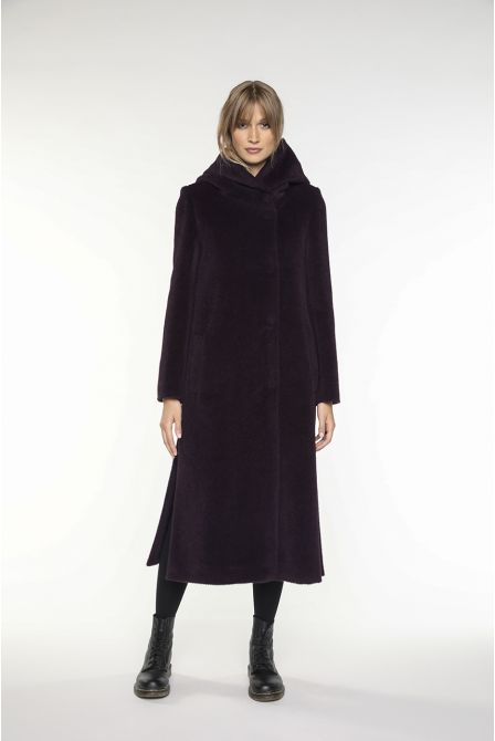 Long hooded coat in colour eggplant  in alpaca wool