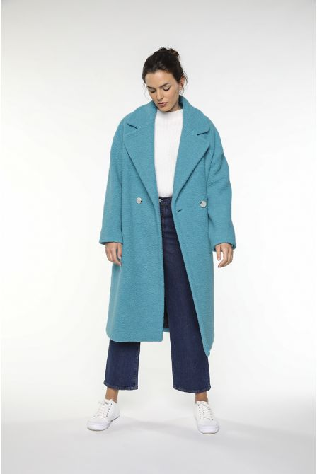 Oversized turquoise overcoat in skinsheep fake fur of wool