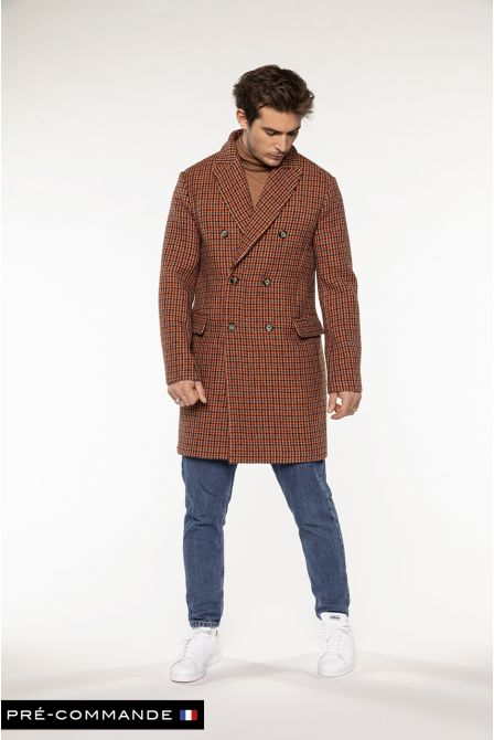 Manteau croisé à carreaux orange