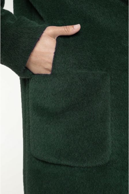 Hoody coat in green Alpaca
