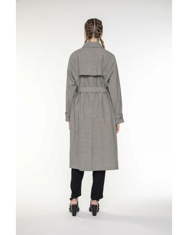 Belted trench coat with pocket in brown linen and cotton