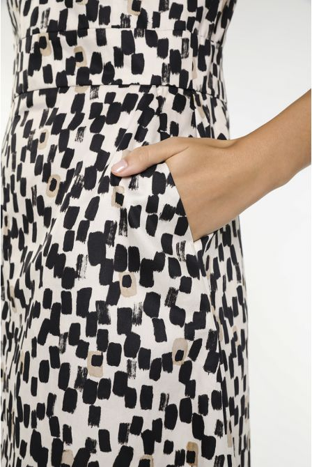 Cream graphic pattern fitted midi dress