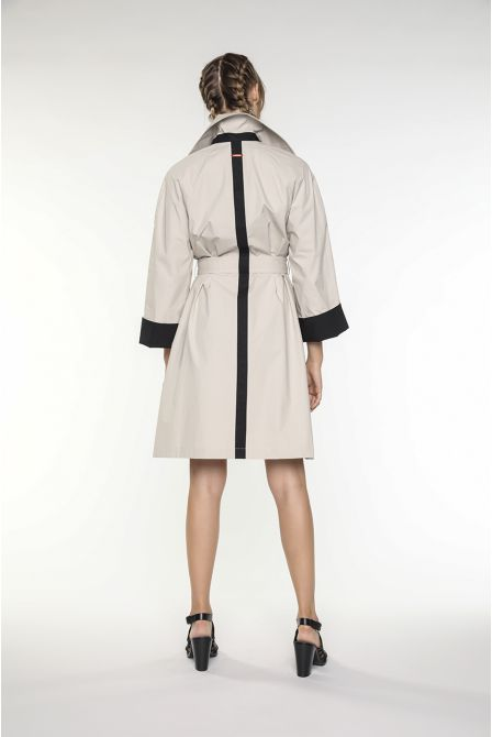 Oversized mid-length trench coat in greige paper-touch like cotton