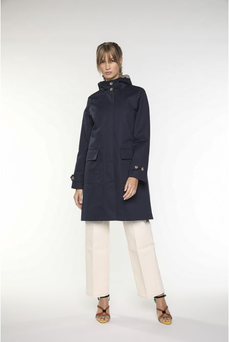 Hooded duffle-style parka in cotton navy blue