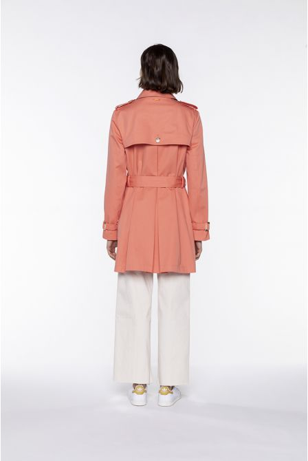 Short-length pink cotton belted trench coat