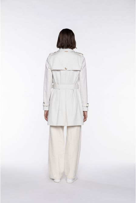 Short-length cream-white cotton belted trench coat