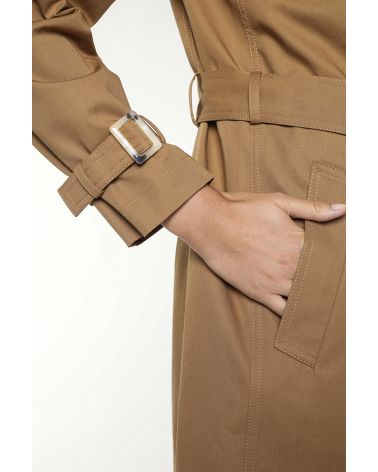 Short-length caramel brown cotton belted trench coat