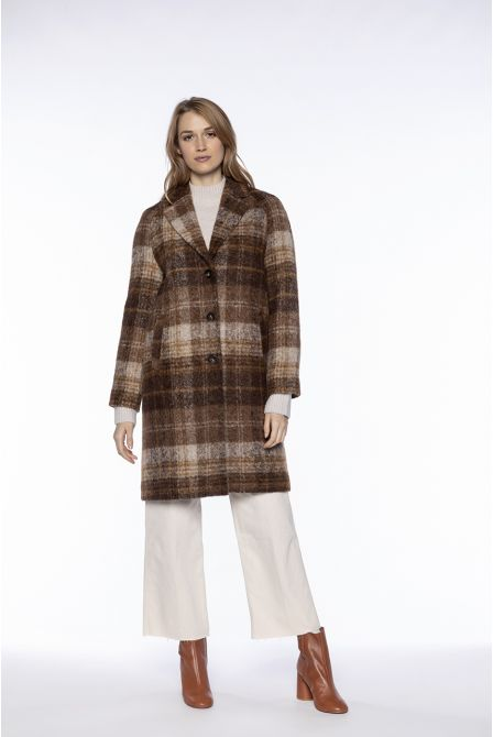 Straight overcoat in brown checked