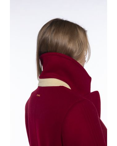 Mid-length red pea coat
