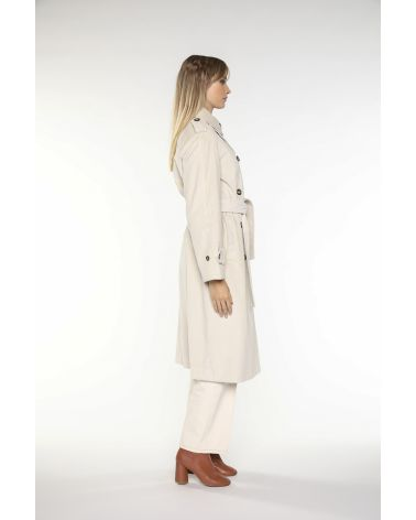 Trench coat in creme cotton corduroy