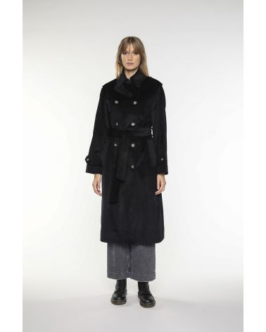 Long trench coat in black cotton corduroy