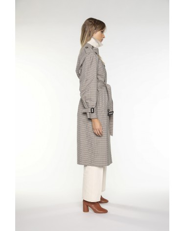 long raincoat in beige-green mini-dogtooth check